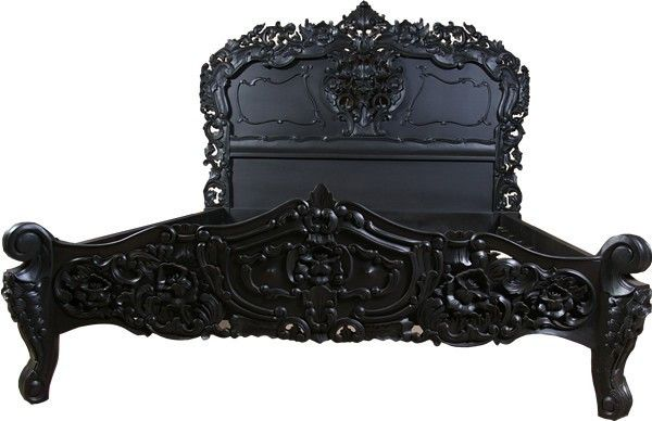 MARIE ROCOCO BLACK CARVED BED