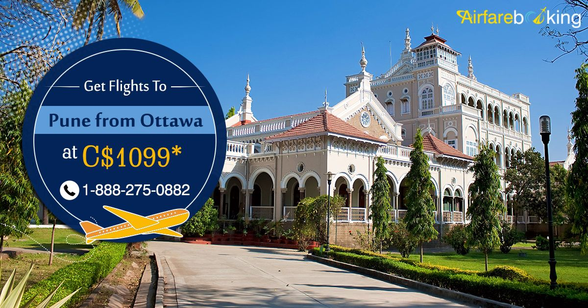 Find cheap tickets and offers from #Ottawa to #Pune and save with #Airfarebooking on your next flight. Book Now!  For more information CALL:- 1-888-275-0882 (Toll-Free).  #CanadatoIndiaflights #flightstopune #cheapflighttickets #cheapflights #CanadatoIndia #Deals #flightdeals #TravelOffers #FlightBookingOnline #VisitMaharashtra #VisitPune