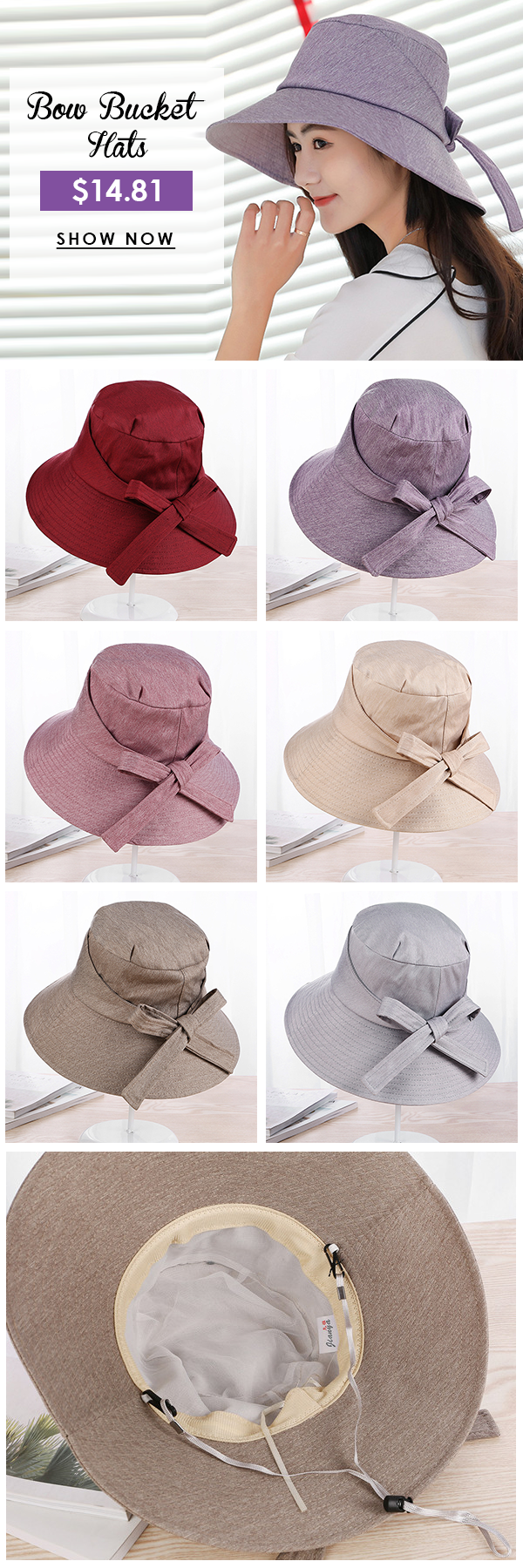 Womens Cotton Solid Bow Bucket Hats Vintage Vogue Formal Hat Cloche ...