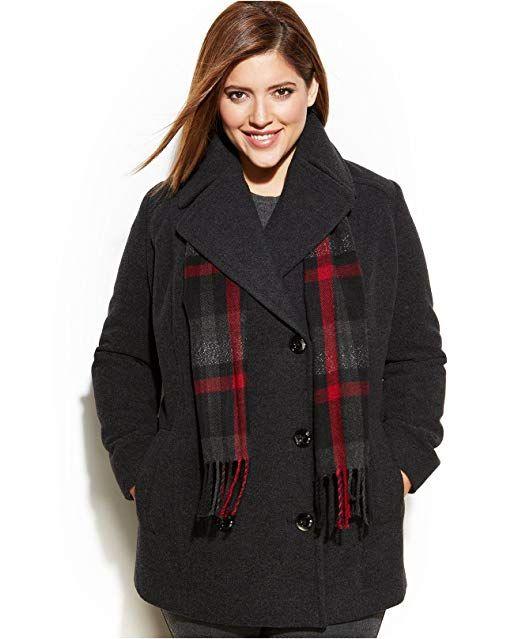 8ca24447c4a London Fog Women s Plus Size Wool-Blend Pea Coat   Scarf Charcoal 2X ...