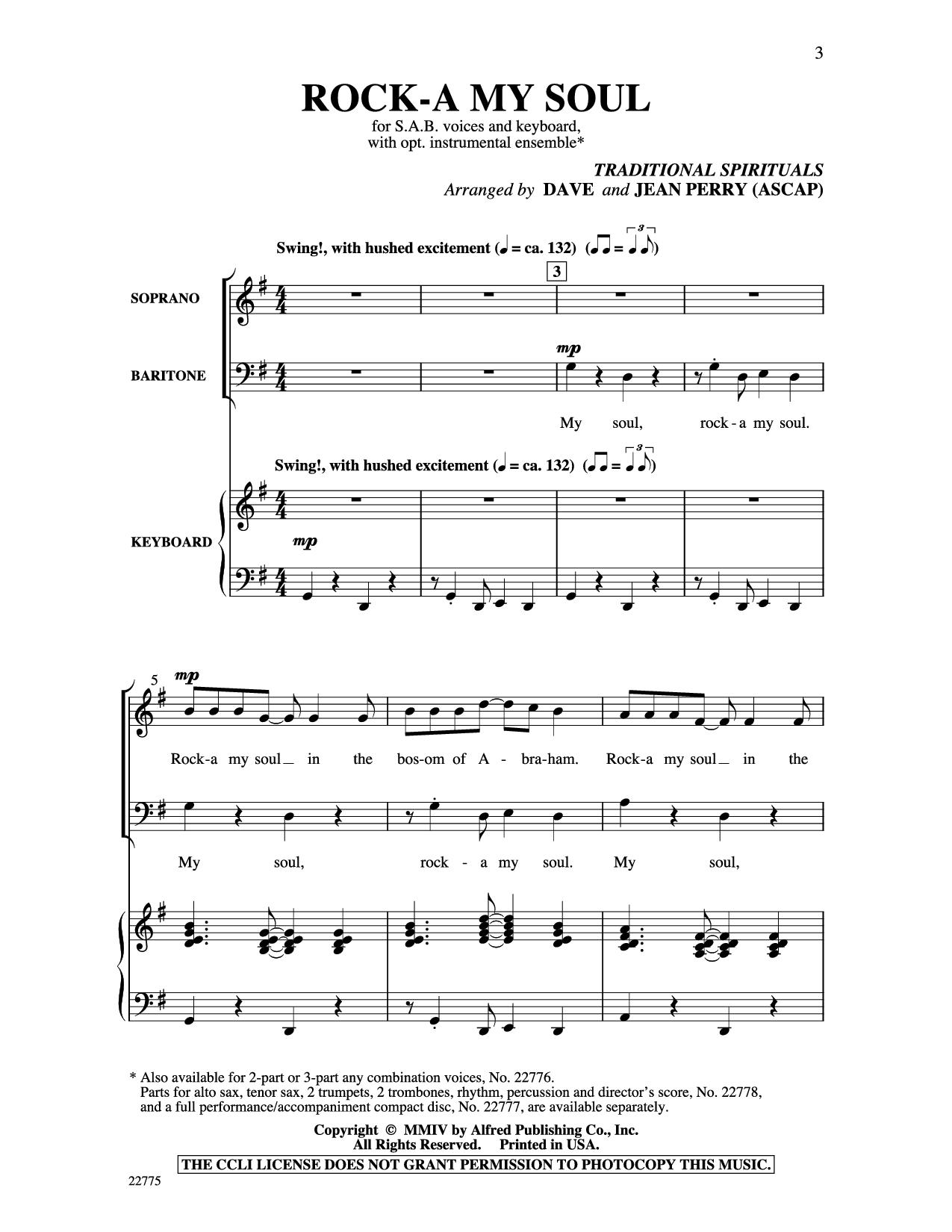 Lyrics for 'Rock-A My Soul'