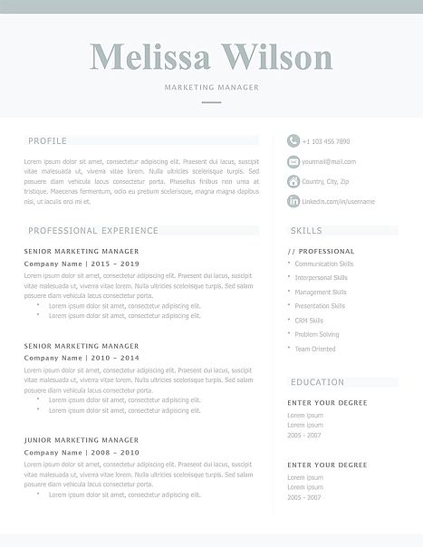 classic resume template 120340