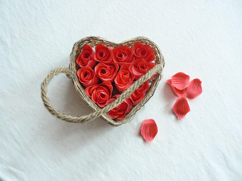 Flower Girl Basket Wedding Flower Girl Basket Shabby Chic Wedding Decor Rustic Weddi
