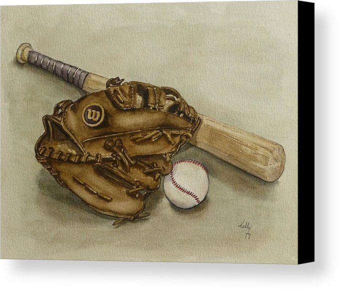 Wilson Baseball Glove And Bat Canvas Print Canvas Art By Kelly Mills Baseball Glove Baseball Canvas Prints