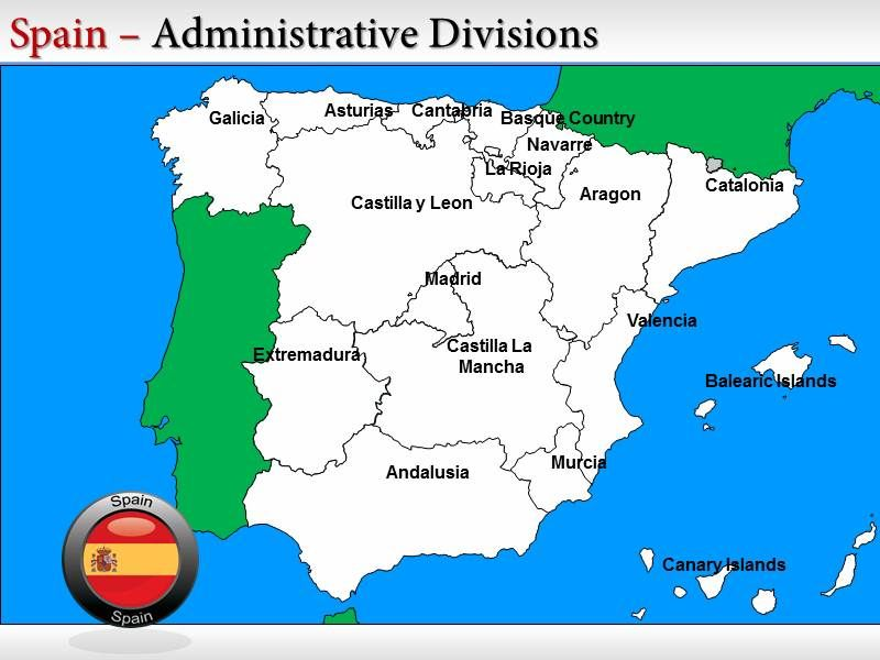 Spain Map Template Spain Powerpoint Background Template Spain