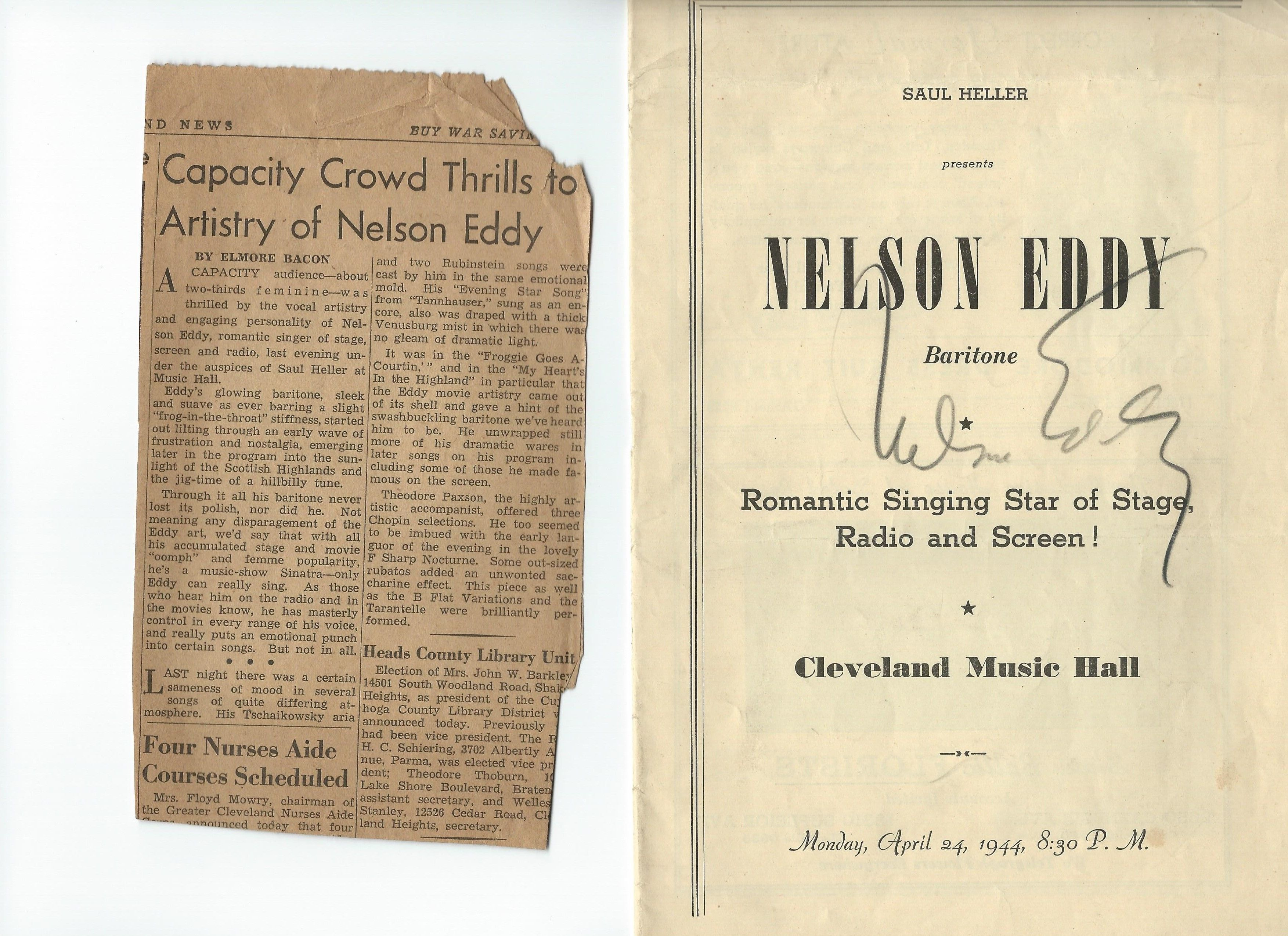 Nelson EddyS Signed Concert Program Cleveland Music Hall Monday