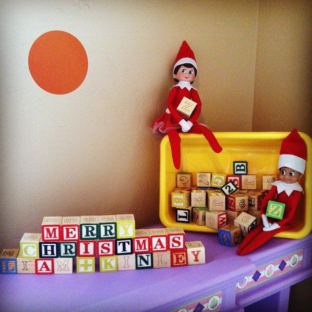 Pin for Later: 21 Elf on the Shelf Ideas For the Lazy Mom Spell Something With Blocks