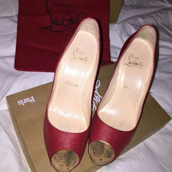 Christian Louboutin Very prive cork red fabric Christian Louboutin Shoes
