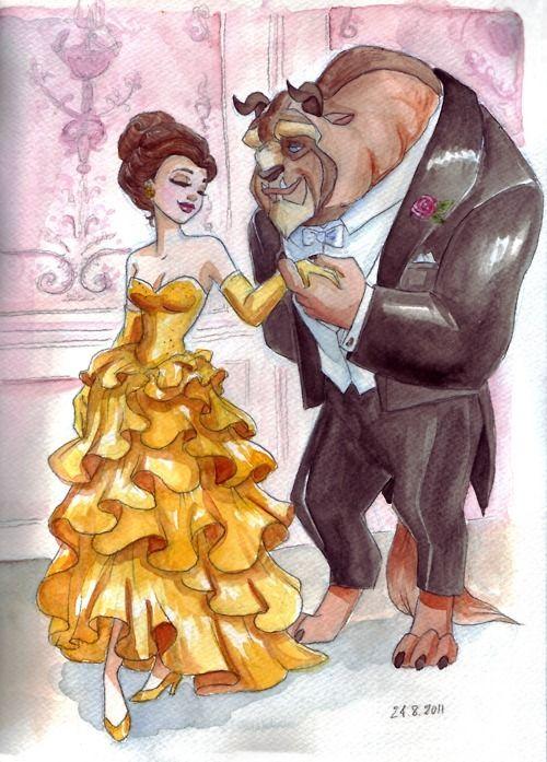 Tumblr Disney Princess Fan Art Belle And Beast Beauty And The Beast