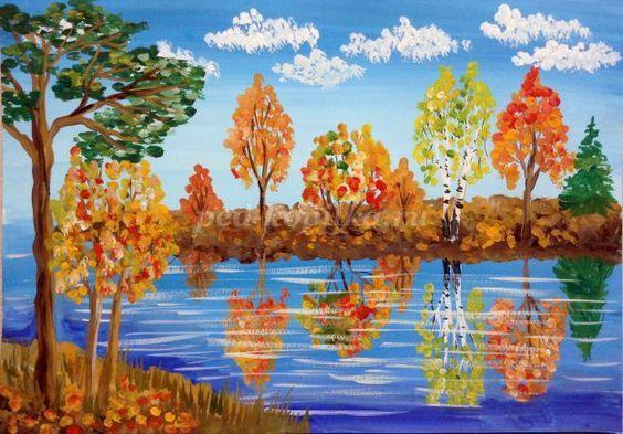 Осенний пейзаж гуашью поэтапно для начинающих с фото ...