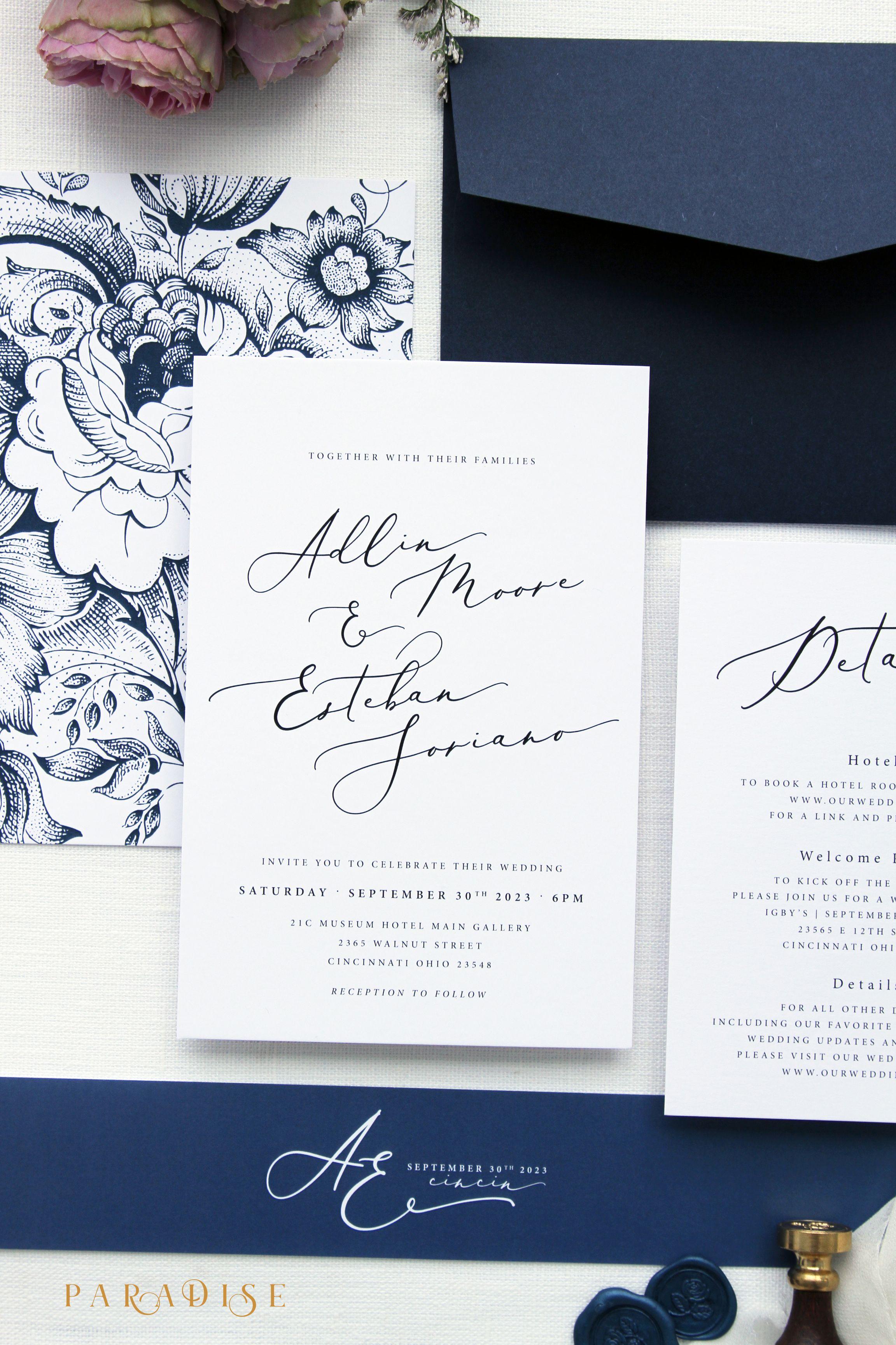 Adlin Elegant Wedding Invitation Sets Modern Kits Stationery Navy Wax Seals Calligraphy Invitations