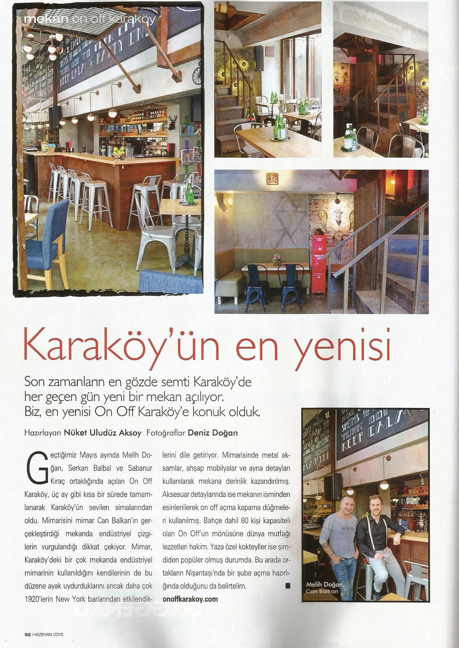 Can Balkan Pub Design Press Release,Home Art Magazine June Edition 2015, Istanbul Turkey