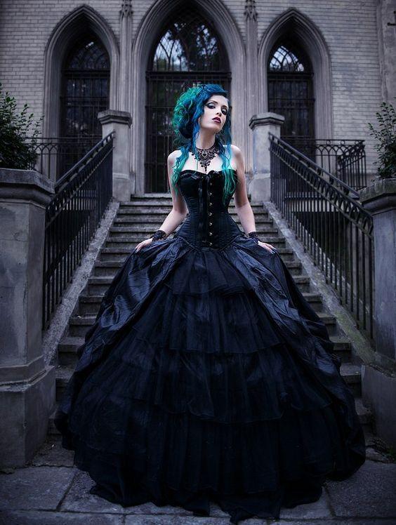 18 Non Traditional Black Gothic Wedding Dresses To Love Weddinginclude Black Wedding Dress Gothic Gothic Wedding Dress Black Wedding Dresses