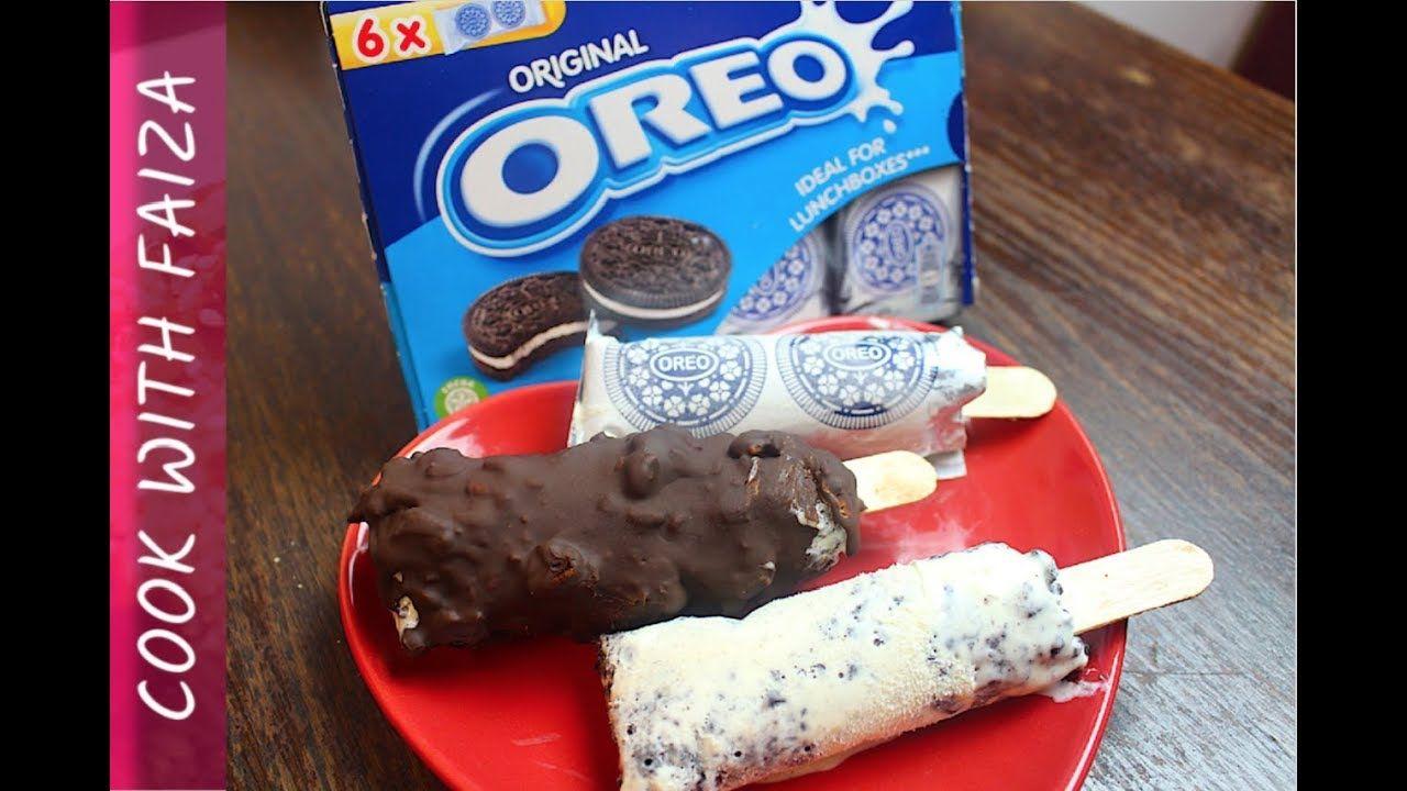 OREO ICE CREAM (ON STICK) *COOK WITH FAIZA* | Oreo ice ...