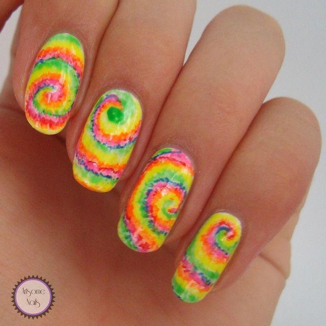 remolino de colores diseño uñas Pedicura Pinterest De colores - uas modernas