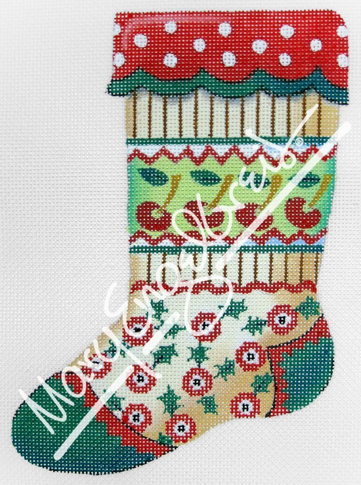 f098d0e86 Needlepoint Canvas  Stocking Cherry Bands