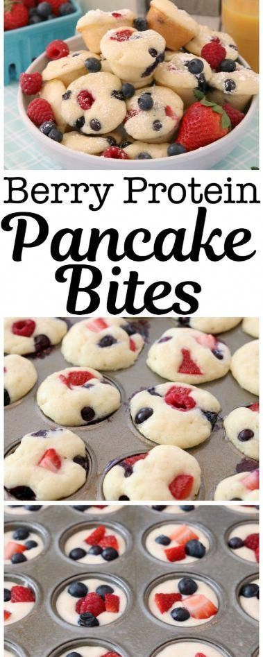 Protein Pancake Bites made easy by baking protein pancake batter in the oven with fresh blueberries, raspberries and strawberries. Dust with powdered sugar or drizzle with syrup for a delicious, satisfying breakfast.Berry Protein Pancake Bites made easy by baking protein pancake batter in the oven with fresh blueberries, raspberries an...