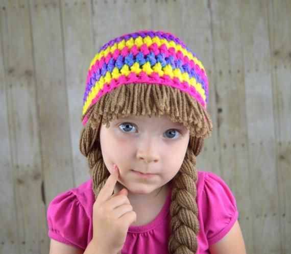 Beanie Braids Purple Pink Yellow Striped Cabbage Patch Pink