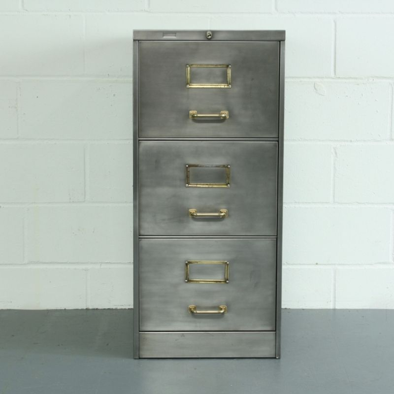 Vintage polished steel 3 drawer filing cabinet Drawers Office