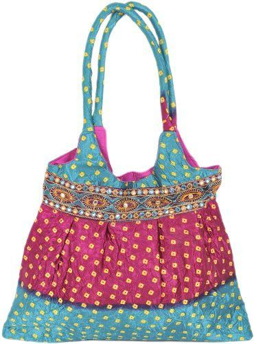 Exotic India Satin Shopper Bag With Embroidered Patch Border And Bandhani Print