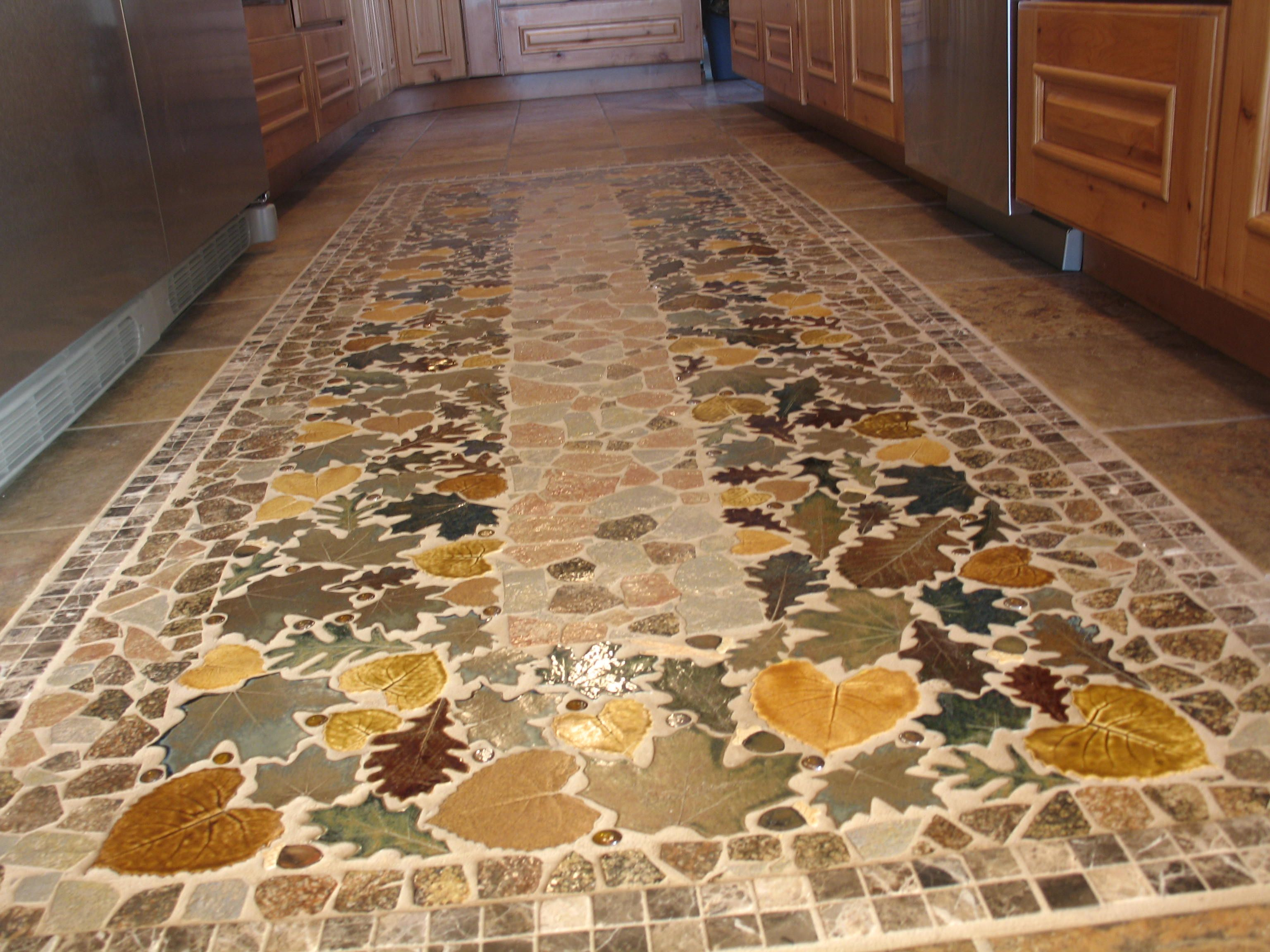 Wow, this ceramic tile leaf kitchen floor runner is a knock ...