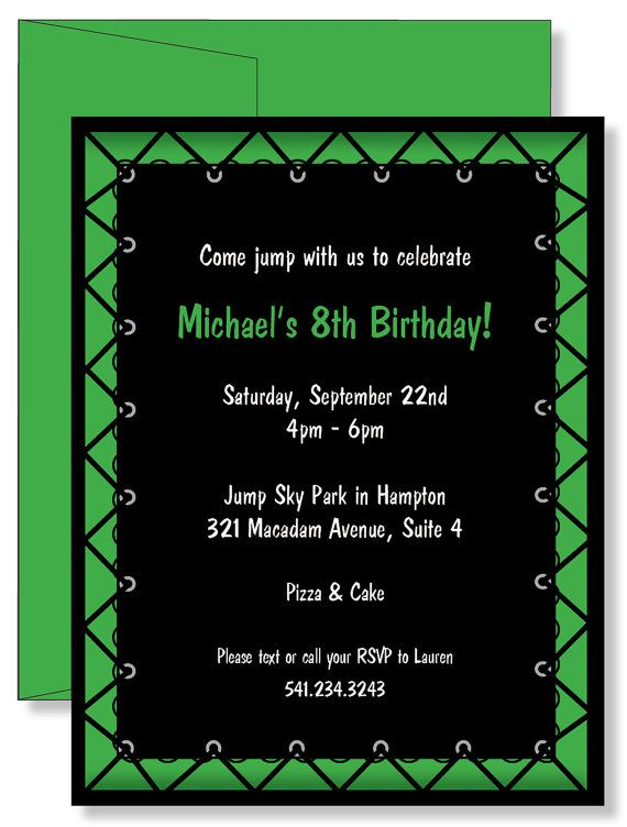 Custom personalized green jump trampoline boys birthday party custom personalized green jump trampoline boys birthday party invitations filmwisefo Images