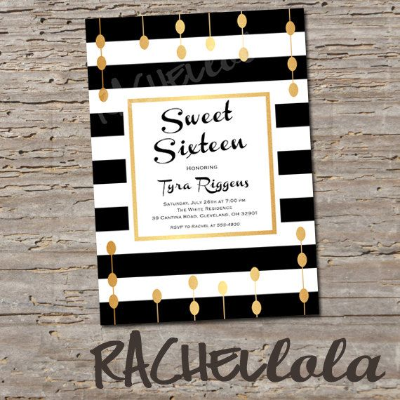 Black and gold sweet sixteen birthday invitation do it yourself black and gold sweet sixteen birthday invitation do it yourself solutioingenieria Images