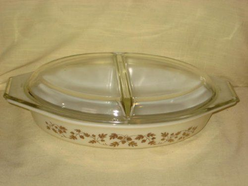 Vintage Corning Pyrex 1960 GOLDEN ACORN 1 12 Quart Divided Cinderella Casserole Baking Dish w Clear Lid -- For more information, visit image link.
