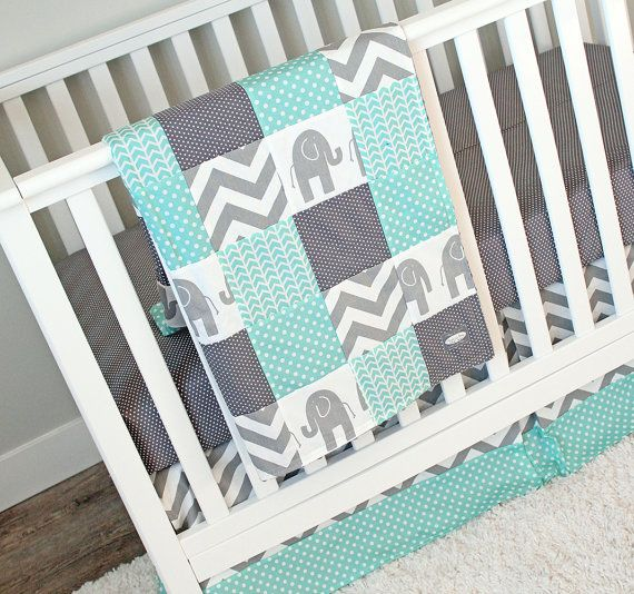 Elephant  Gray /& Mint Baby Bedding Perfect for a gender neutral nursery  Choose Bumper or Rail Guard for your Set!
