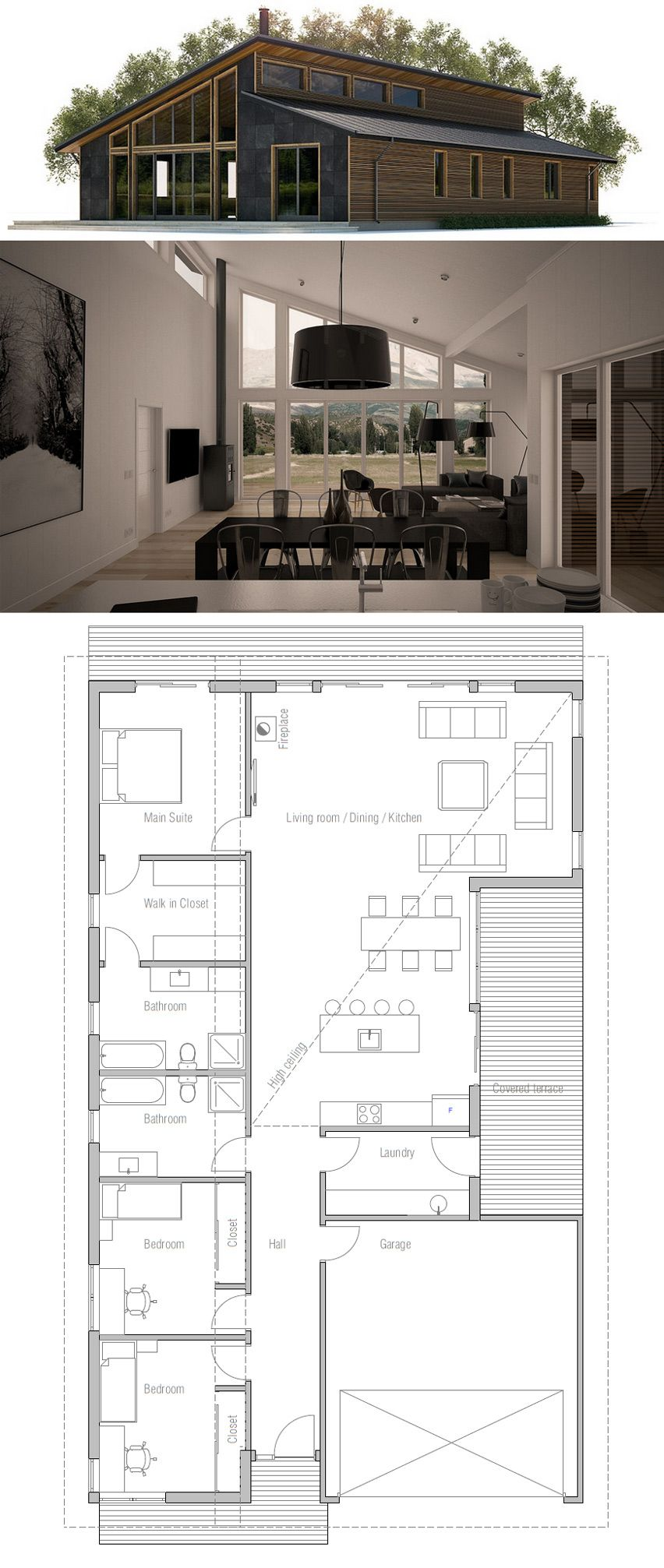 Modern house plan with high ceilings Four