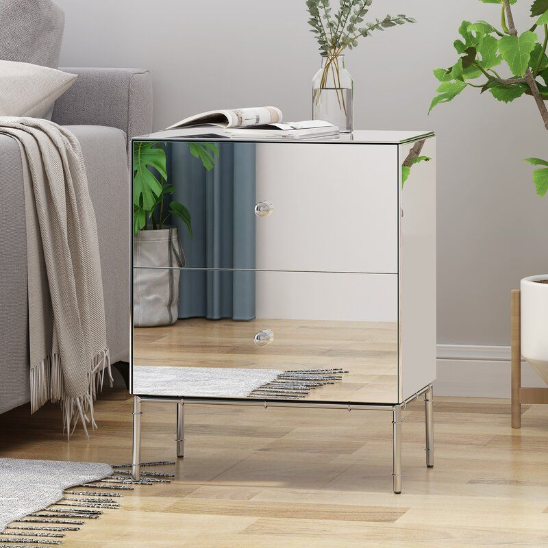 Mirror Block Base Glass Table Bedside