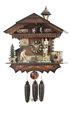 Amazon Com River City Clocks Md824 19 Eight Day Musical Cuckoo Clock With Dancers Farmer Chases Boy Up Ladder 19 Inch Tall Home Cuckoo Clock Clock Cuckoo