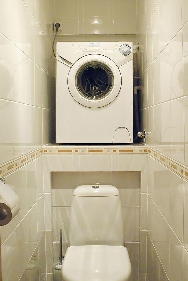 Как спрятать стиральную машину в ванной: под раковиной, в ...