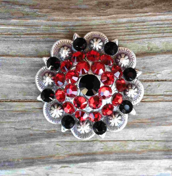"""Crystal Conchos """"Ladybug"""" for Horse Tack, Saddles, Headstalls, Breast Collars, Jewelry"""