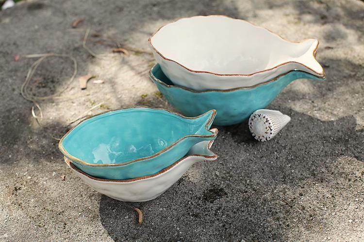 "8-1/4""L Dolomite Fish Bowl, 2 Colors"