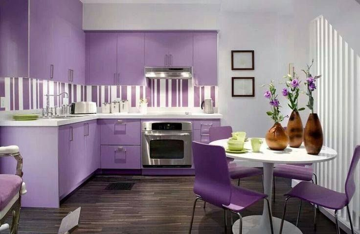 Purple dinning room with kitchen! wwwrilane Dining Room