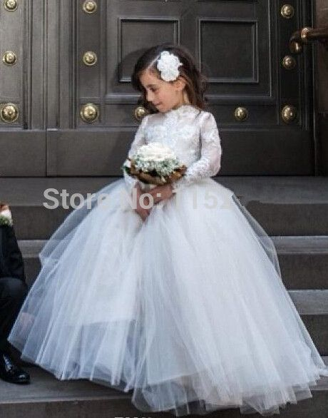 On Sale White Lace Long Sleeves 2017 Gorgeous Flower Girls Dresses