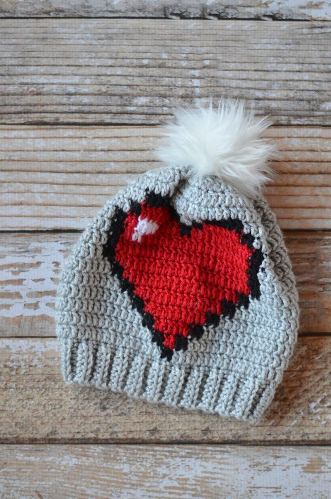 Crochet 8-Bit Heart Slouchy | Project Ideas | Pinterest | Gorros ...