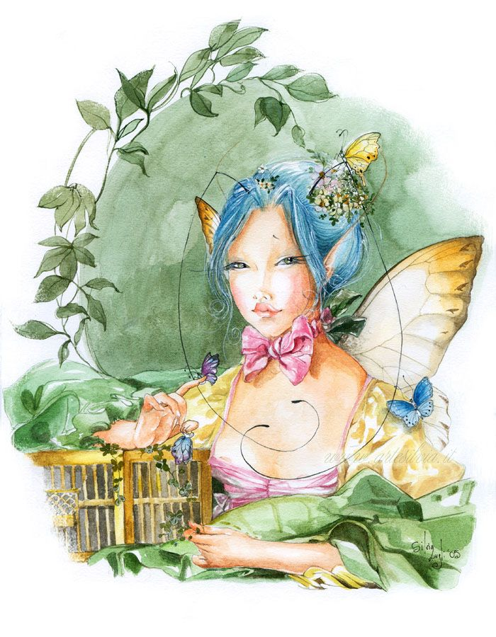 » Silvia Lugli: феечки и эльфы » Картинки, эскизы, рисунки карандашом и тушью.
