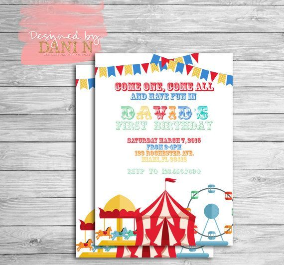 Circus Birthday Invitation Carnival Party Invite Carrousel 1st First Any Age Tent Printable Digital