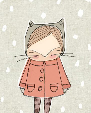 Image of Children's Wall Art -Little Cat Illustration - Cat Art - Orange Coat and Snowflakes