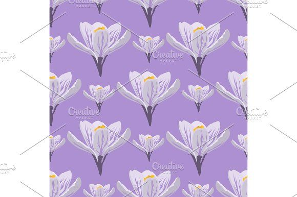 Photo of Nature spring crocus flower wreath illustration colorful seamless pattern backgr …