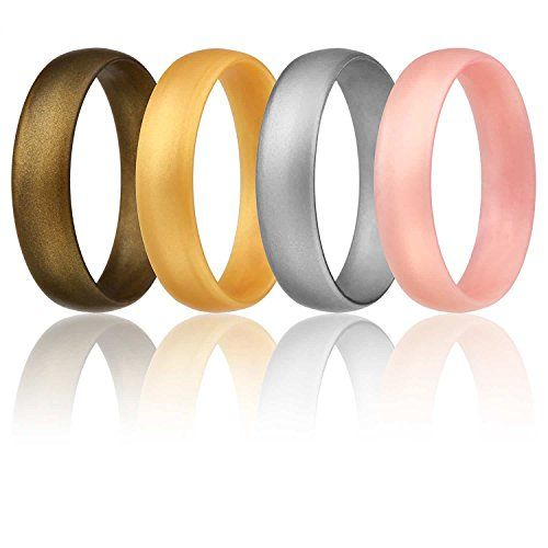 Silicone Wedding Ring For Women By Roq Set Of 4 Affordab Rubber Wedding Band Wedding Rings For Women Silicone Wedding Rings