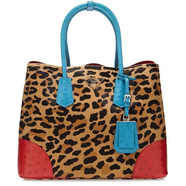 e94e2e8804a Prada Calf Hair   Ostrich Medium Double Tote Bag ( 7