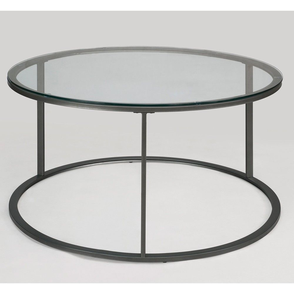 Round Glass Top Metal Coffee Table | Overstock.com ...