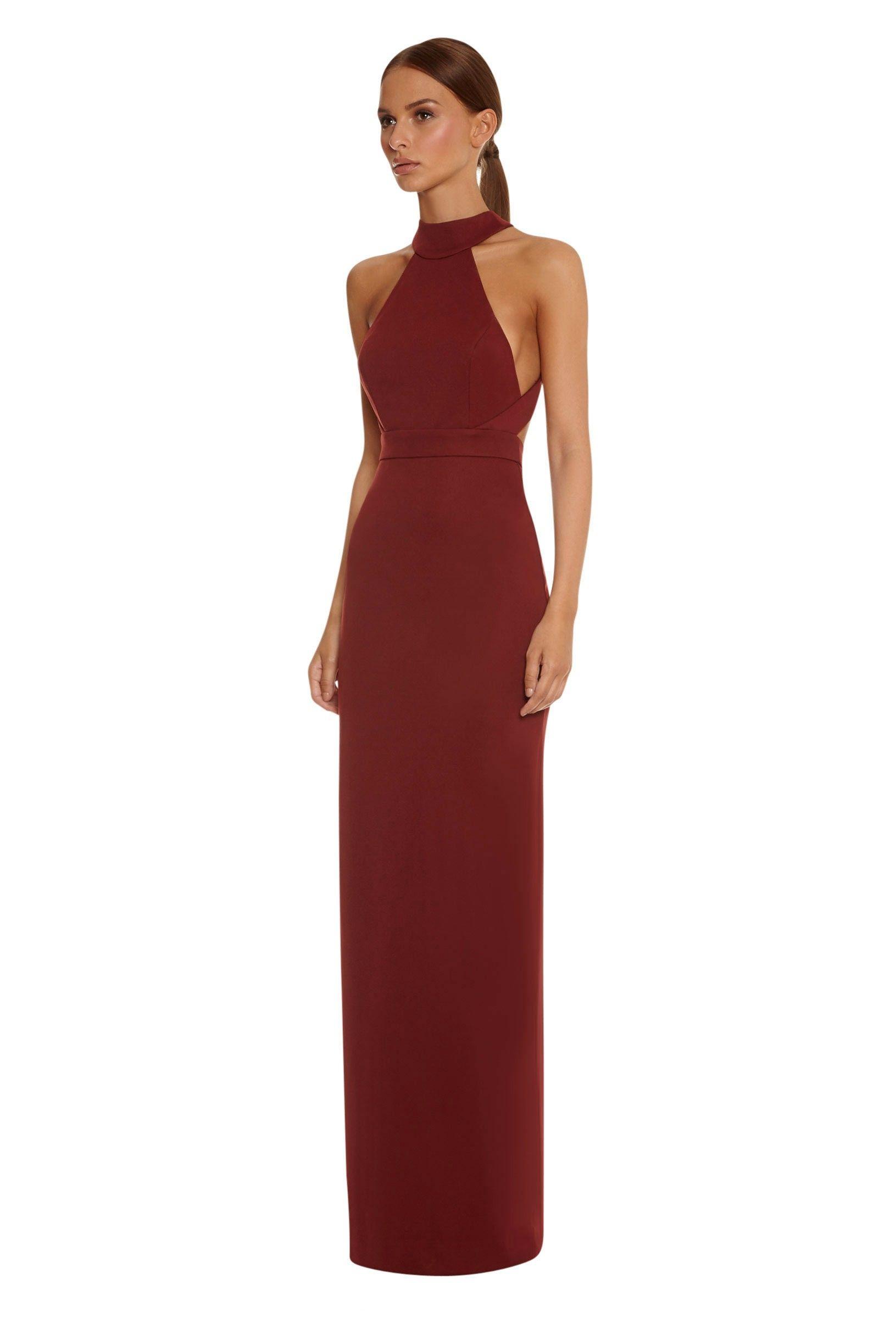 Image 3 of Izzo Halterneck Maxi Dress · Berry Rust · AQ/AQ | grad ...