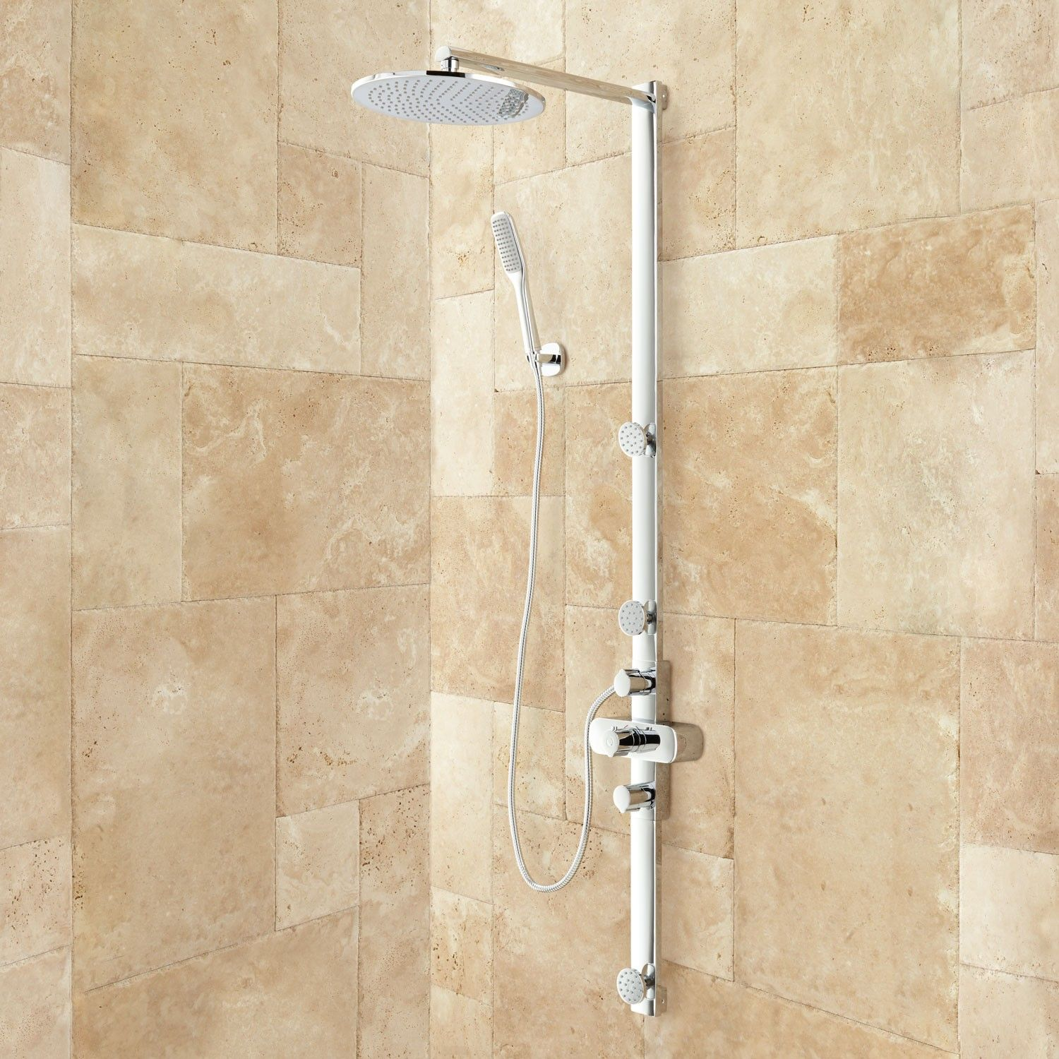 Bathroom shower pipe - Correia Exposed Pipe Shower System With Rainfall Shower Head Hand Shower