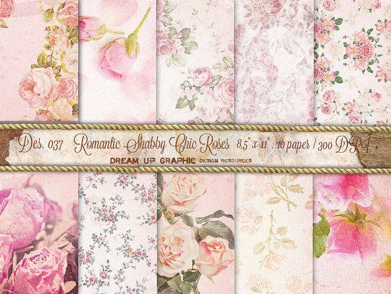 Carta digitale Shabby Chic con Rose. Carta digitale