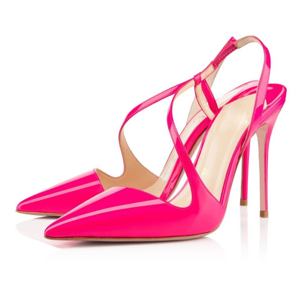 Pink dress shoes for ladies  STOCK ITEM New fashion women pumps sexy pointed toe slingbacks thin