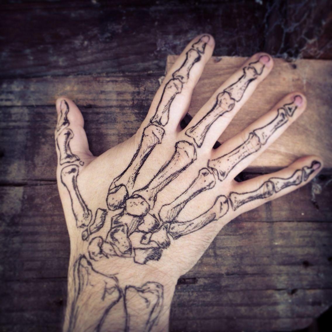 Halloween Hand Body art tattoos, Skeleton hand tattoo
